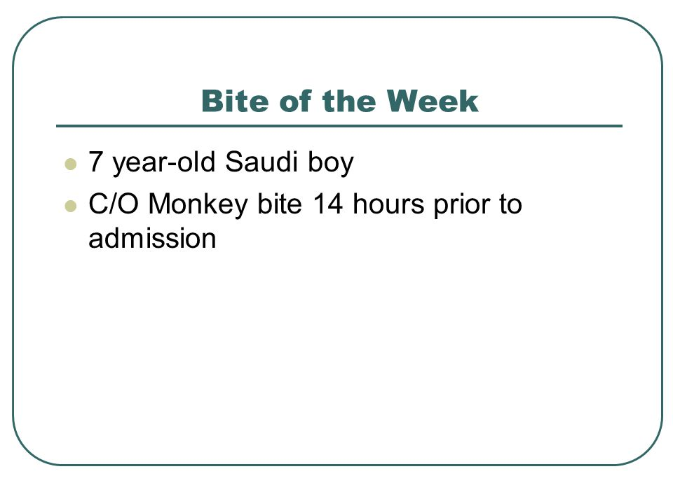 Bite of the Week 7 year-old Saudi boy C/O Monkey bite 14 hours prior to admission