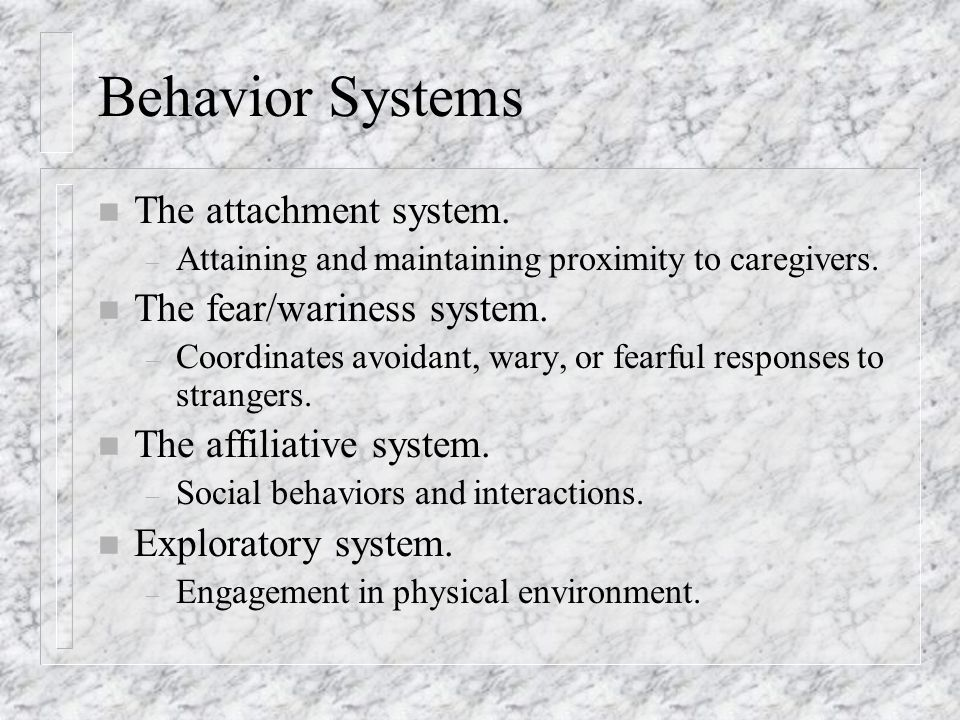 Behavior Systems n The attachment system. – Attaining and maintaining proximity to caregivers.