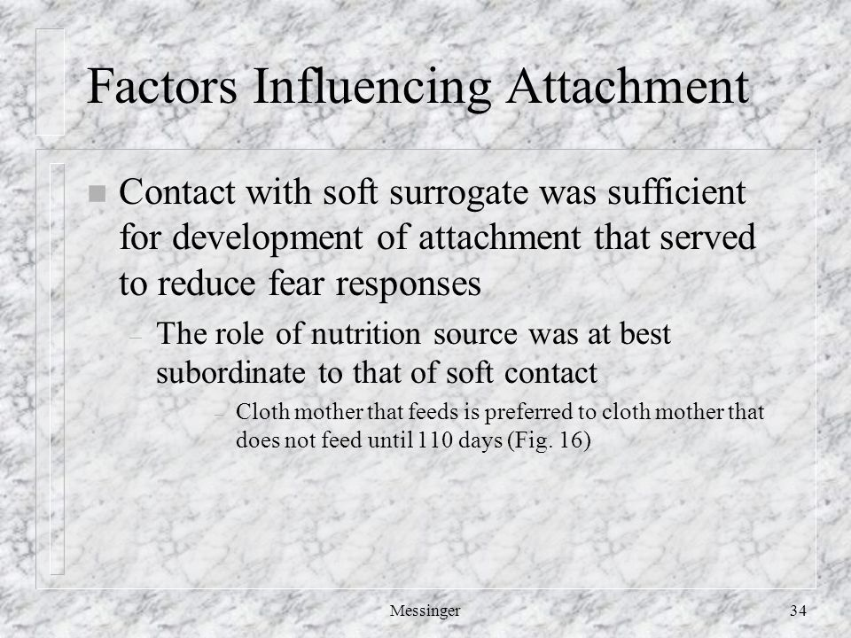 Messinger34 Factors Influencing Attachment n Contact with soft surrogate was sufficient for development of attachment that served to reduce fear responses – The role of nutrition source was at best subordinate to that of soft contact – Cloth mother that feeds is preferred to cloth mother that does not feed until 110 days (Fig.