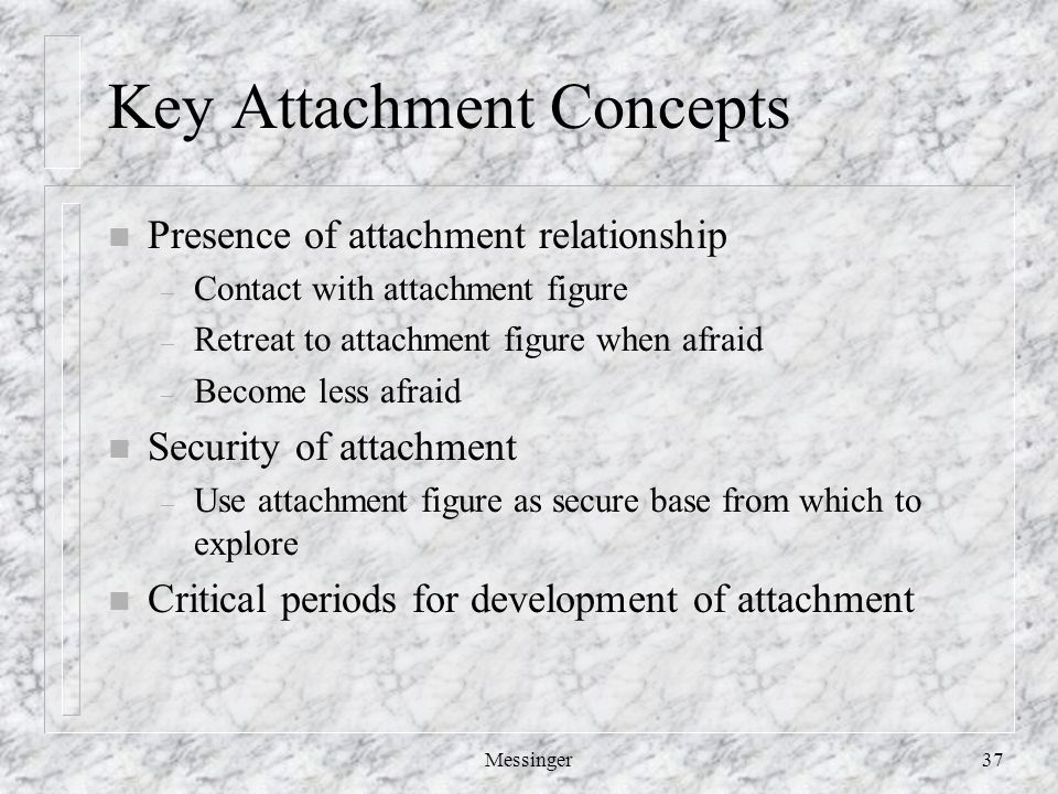 Messinger37 Key Attachment Concepts n Presence of attachment relationship – Contact with attachment figure – Retreat to attachment figure when afraid – Become less afraid n Security of attachment – Use attachment figure as secure base from which to explore n Critical periods for development of attachment