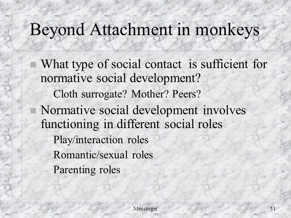 Messinger51 Beyond Attachment in monkeys n What type of social contact is sufficient for normative social development.