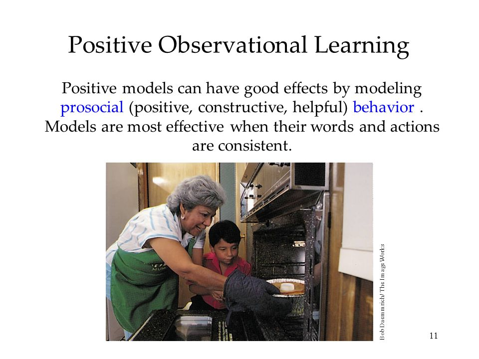 11 Positive Observational Learning Positive models can have good effects by modeling prosocial (positive, constructive, helpful) behavior. Models are