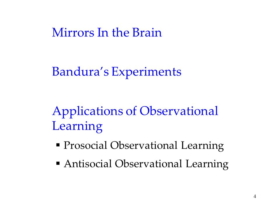 4 Mirrors In the Brain Bandura's Experiments Applications of Observational Learning  Prosocial Observational Learning  Antisocial Observational Lear