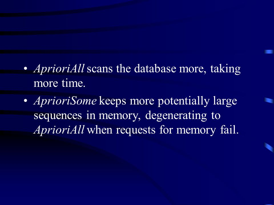 AprioriAll scans the database more, taking more time.