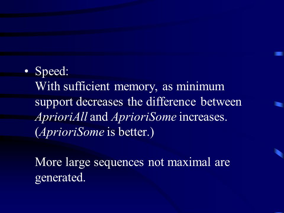 Speed: With sufficient memory, as minimum support decreases the difference between AprioriAll and AprioriSome increases.