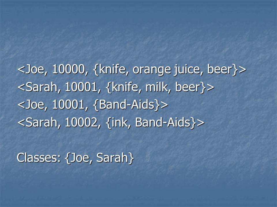 Classes: {Joe, Sarah}