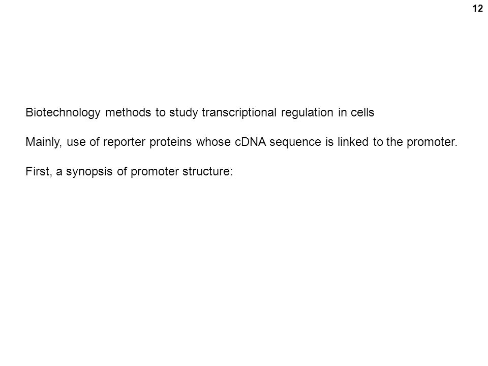 12 Biotechnology methods to study transcriptional regulation in cells Mainly, use of reporter proteins whose cDNA sequence is linked to the promoter.