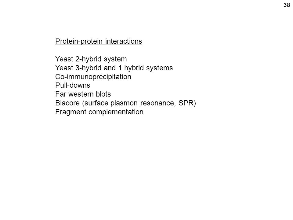 38 Protein-protein interactions Yeast 2-hybrid system Yeast 3-hybrid and 1 hybrid systems Co-immunoprecipitation Pull-downs Far western blots Biacore