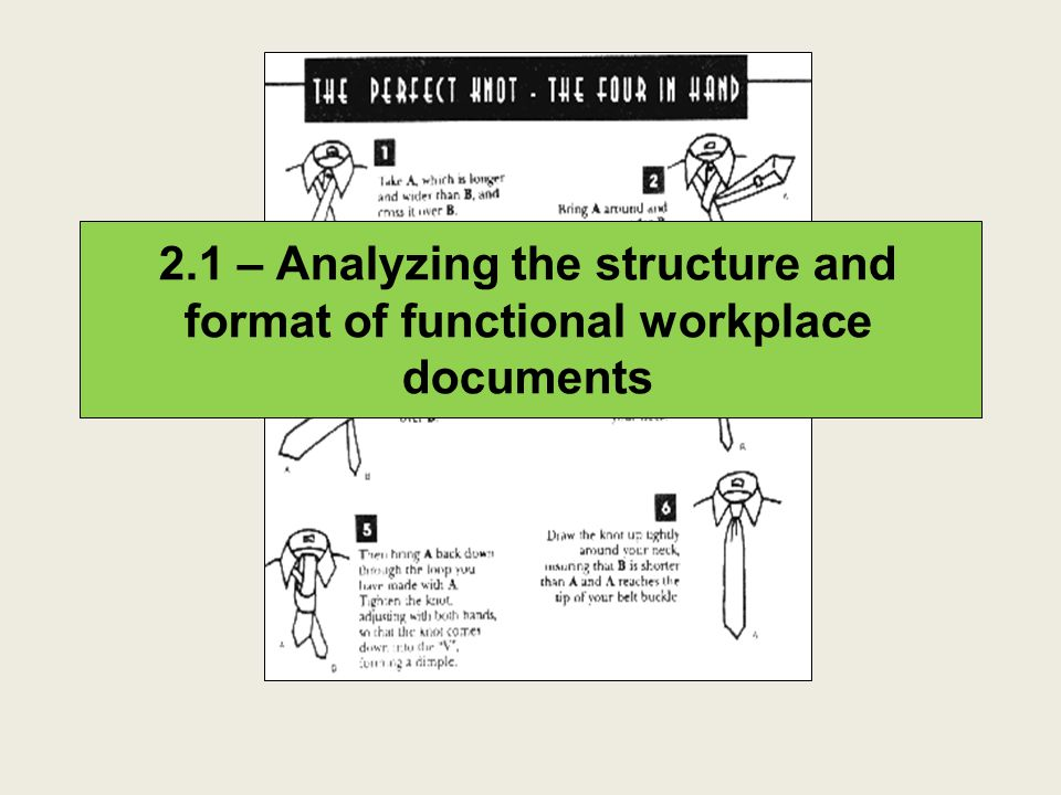 2.1 – Analyzing the structure and format of functional workplace documents