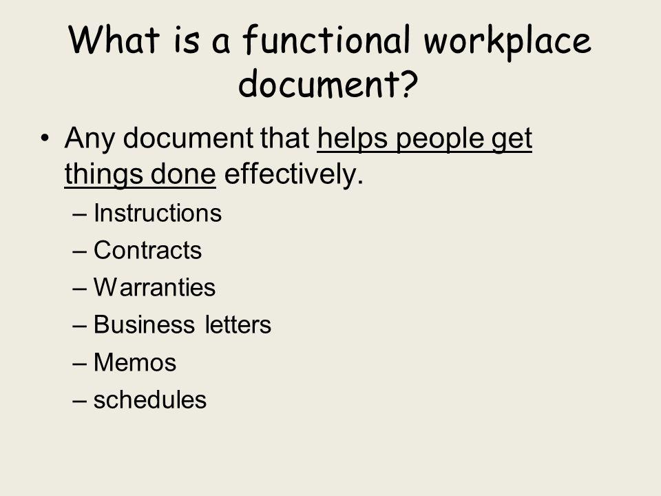 How do you ANALYZE a functional document.