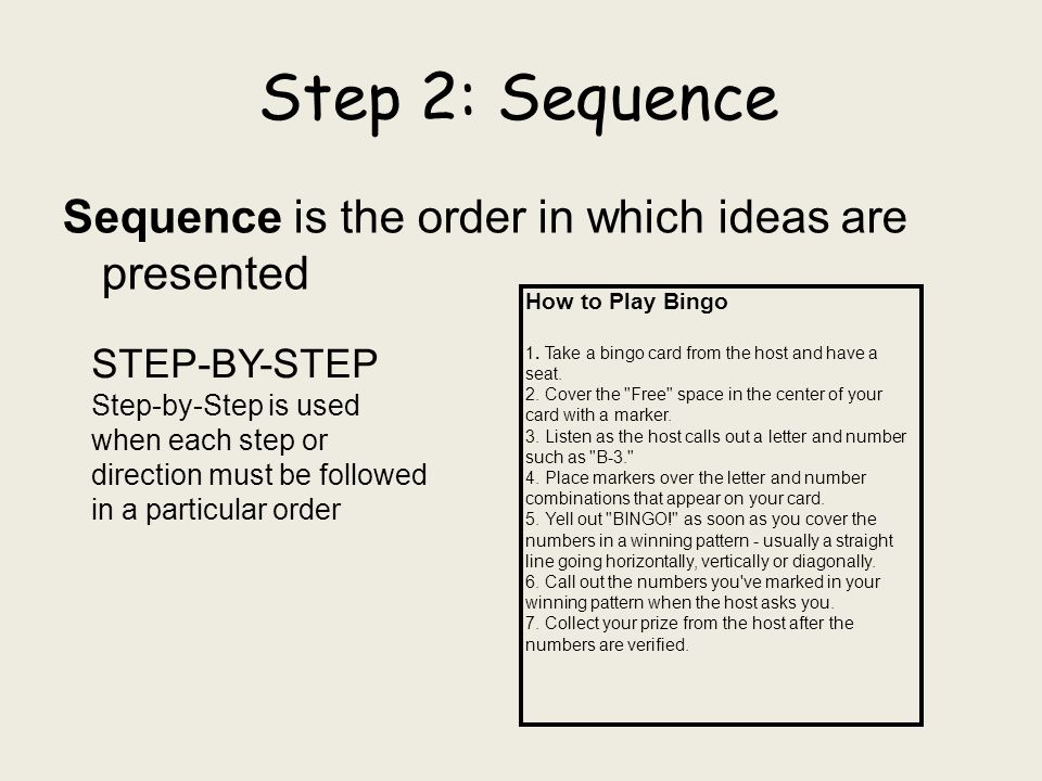POINT-BY-POINT Point-by-point is used when the steps can be read out of order and even followed out of order