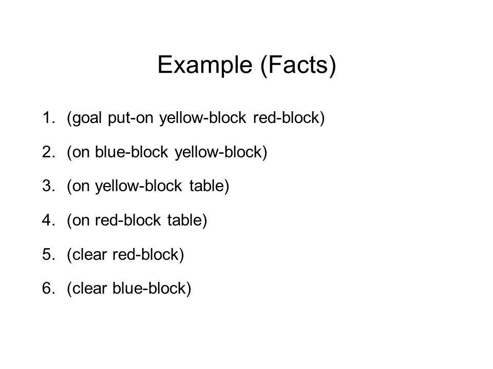 Example (Facts) 1. (goal put-on yellow-block red-block) 2. (on blue-block yellow-block) 3. (on yellow-block table) 4. (on red-block table) 5. (clear r