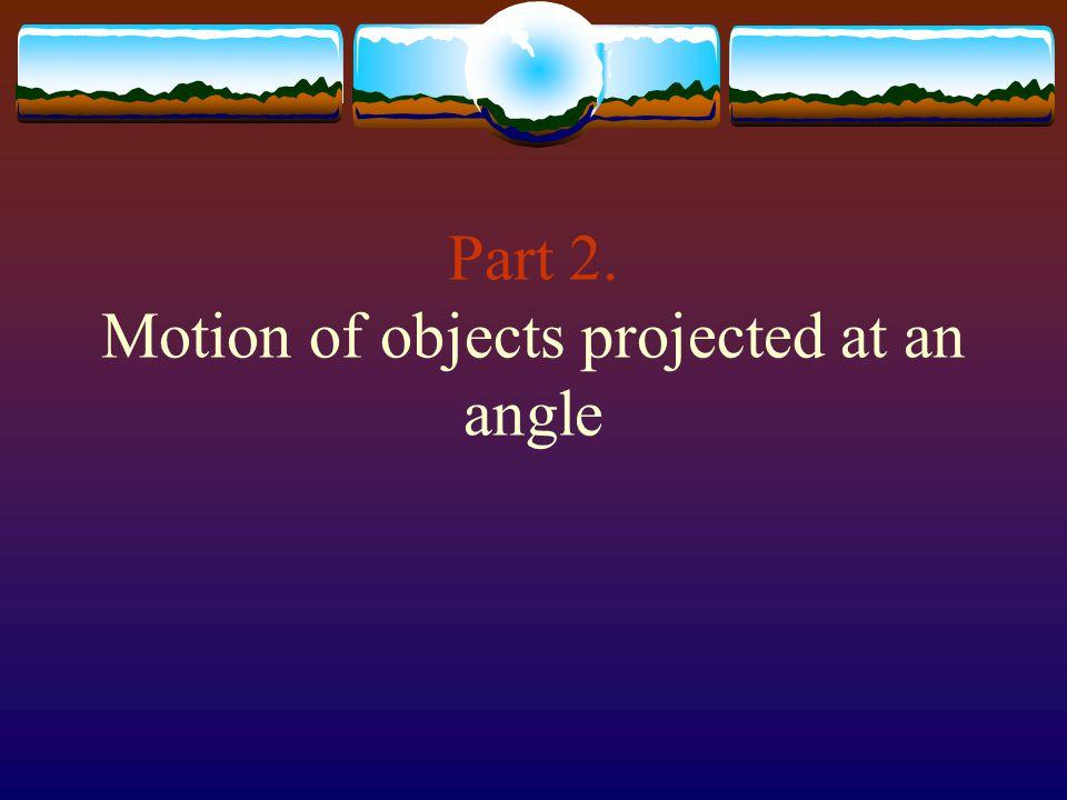vivi x y θ v ix v iy Initial velocity: vi = v i [Θ] Velocity components: x- direction : v ix = v i cos Θ y- direction : v iy = v i sin Θ Initial position: x = 0, y = 0