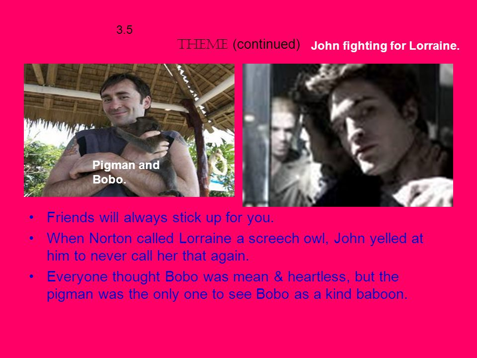 3.5 THEME Friendship can be found in the least expecting places. For example, Bobo is the pigman's best friend, and Bobo is a baboon (monkey). John an