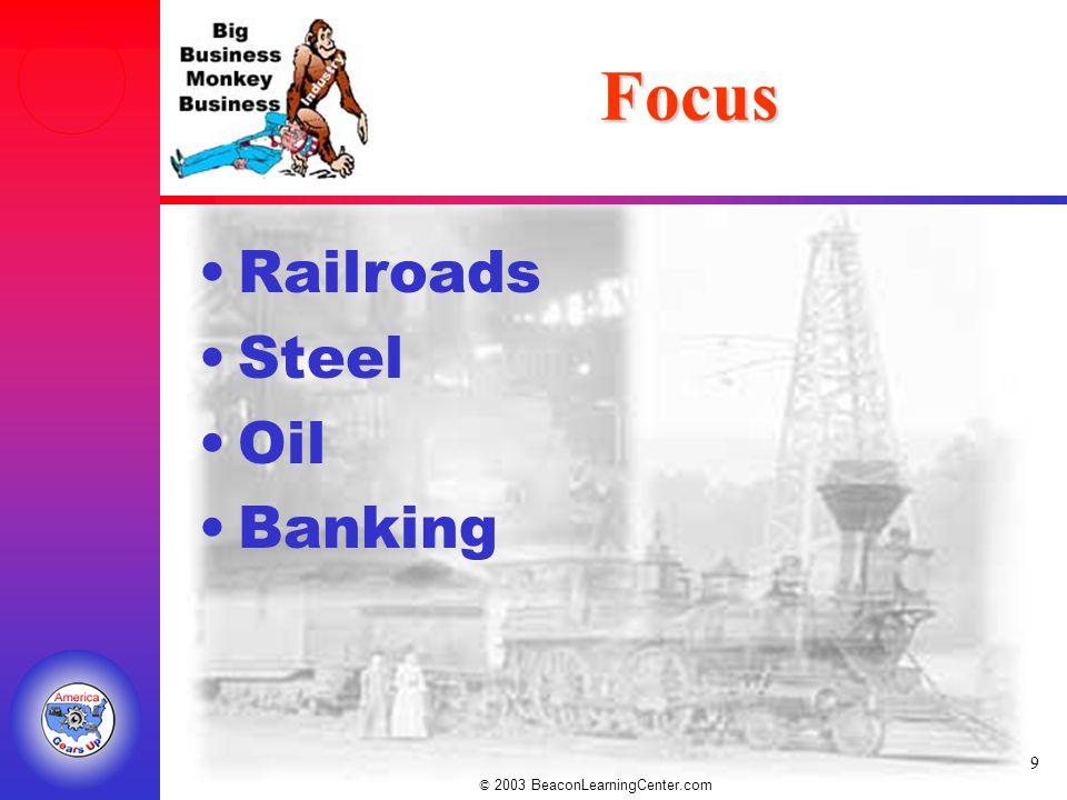© 2003 BeaconLearningCenter.com 9 Focus Railroads Steel Oil Banking