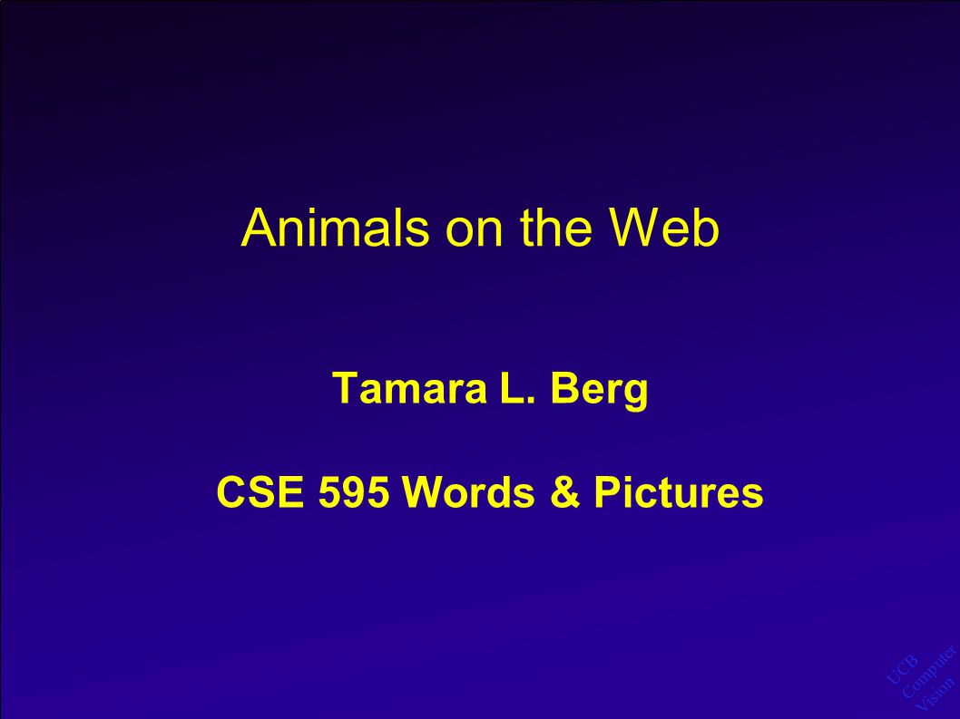 UCB Computer Vision Animals on the Web Outline: Harvest pictures of animals from the web using Google Text Search.