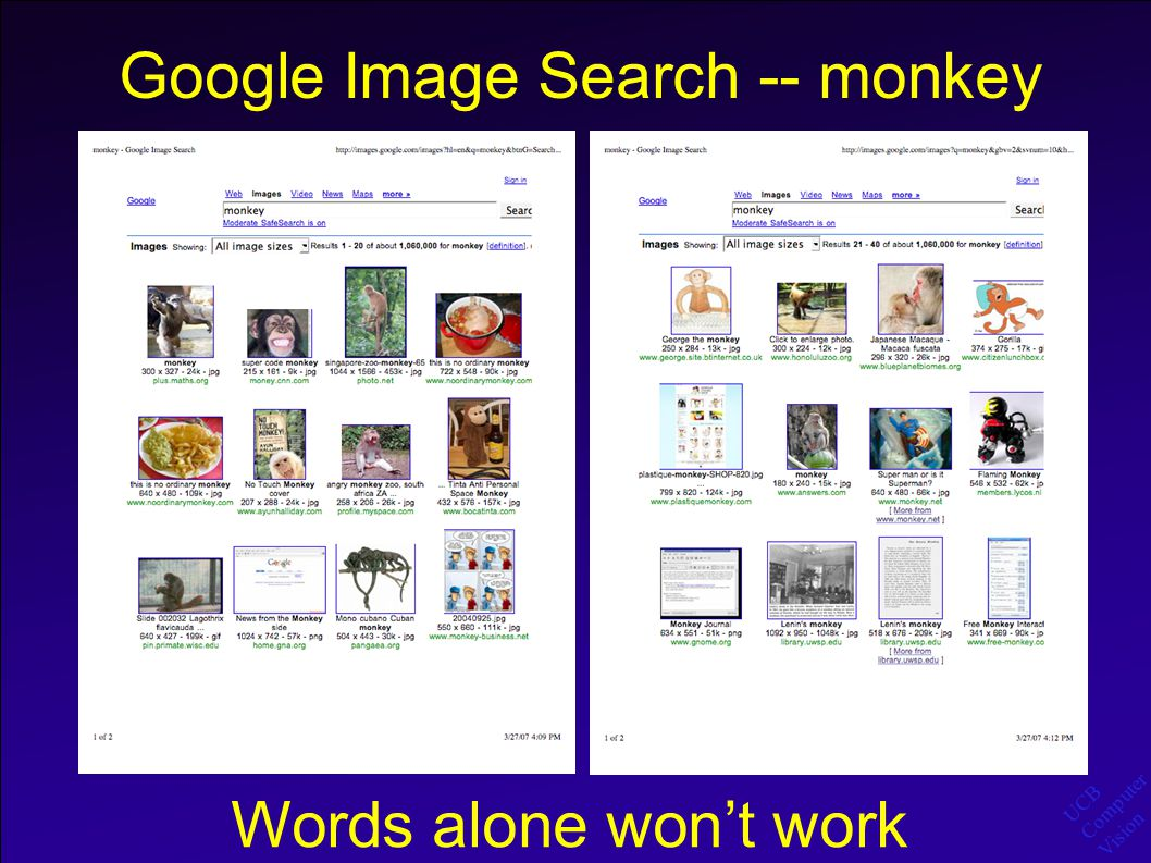 UCB Computer Vision Flickr Search - monkey  Even with humans doing the labeling, the data is extremely noisy -- context, polysemy, photo sets  Words alone still won't work!