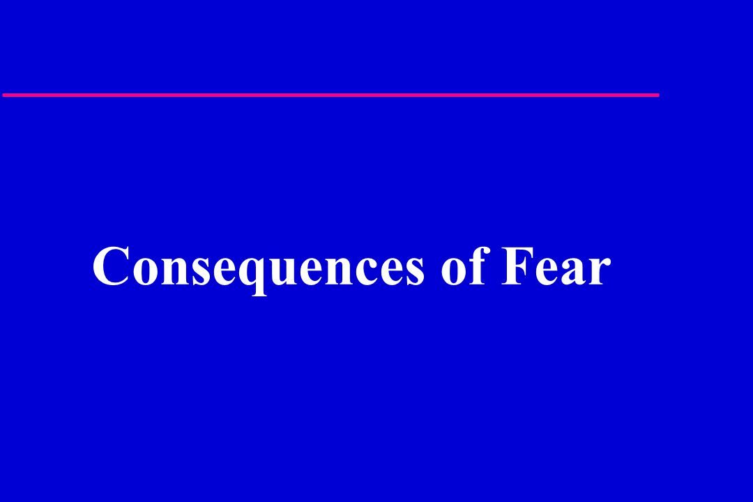 Consequences of Fear