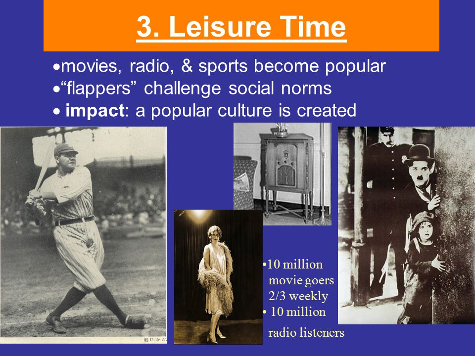 """3. Leisure Time  movies, radio, & sports become popular  """"flappers"""" challenge social norms  impact: a popular culture is created 10 million movie"""