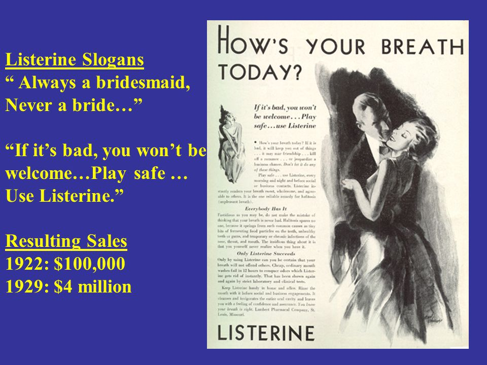 """Listerine Slogans """" Always a bridesmaid, Never a bride…"""" """"If it's bad, you won't be welcome…Play safe … Use Listerine."""" Resulting Sales 1922: $100,000"""