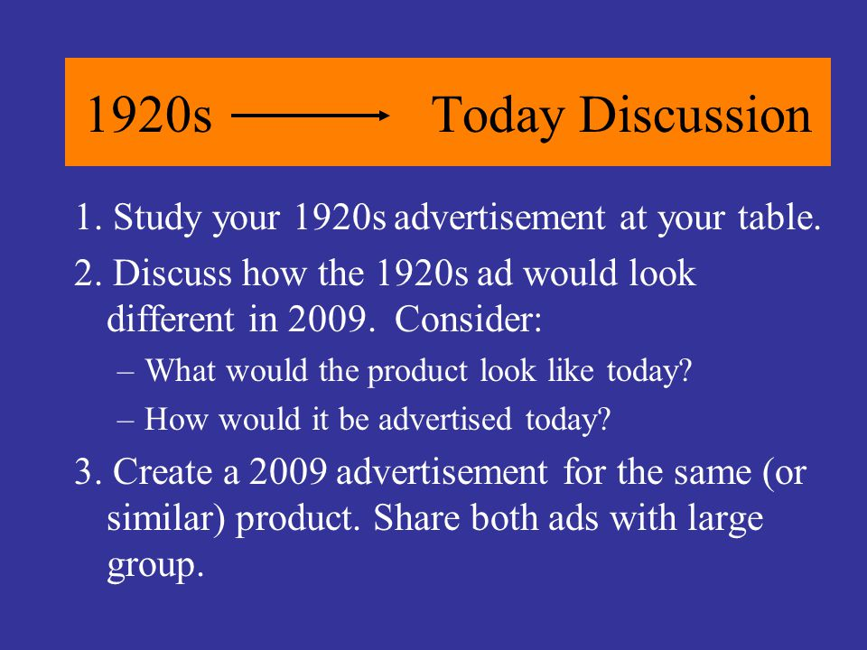 1920sToday Discussion 1. Study your 1920s advertisement at your table. 2. Discuss how the 1920s ad would look different in 2009. Consider: –What would