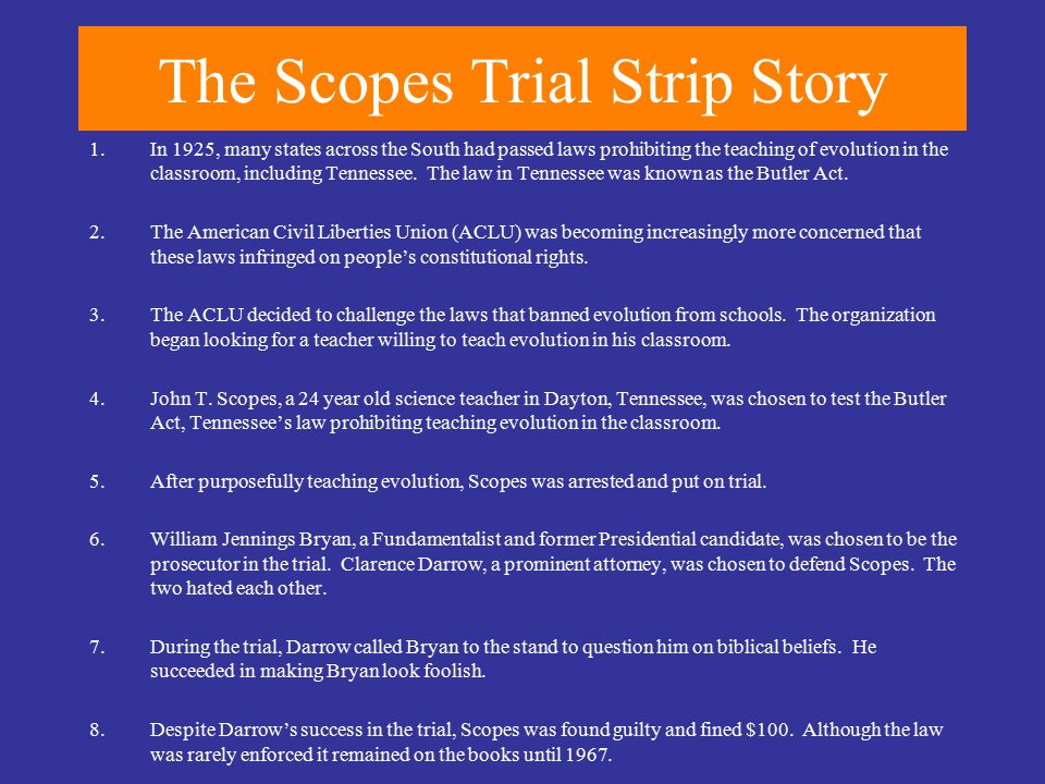 The Scopes Trial Strip Story 1.In 1925, many states across the South had passed laws prohibiting the teaching of evolution in the classroom, including Tennessee.