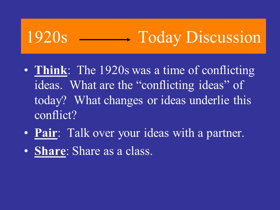 1920sToday Discussion Think: The 1920s was a time of conflicting ideas.