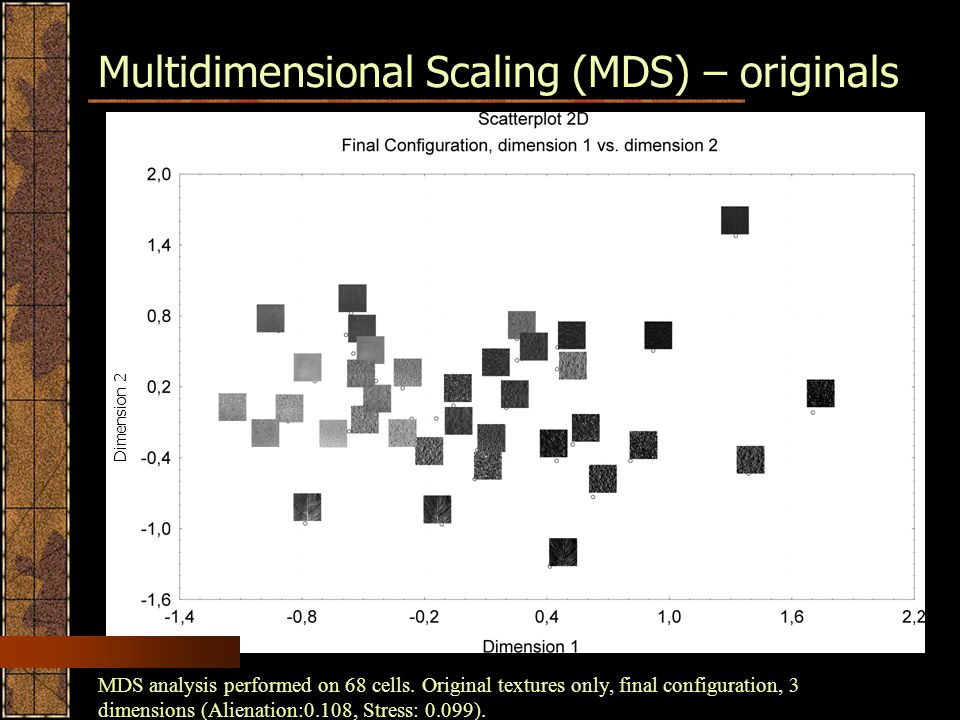 Multidimensional Scaling (MDS) – originals Dimension 2 MDS analysis performed on 68 cells.
