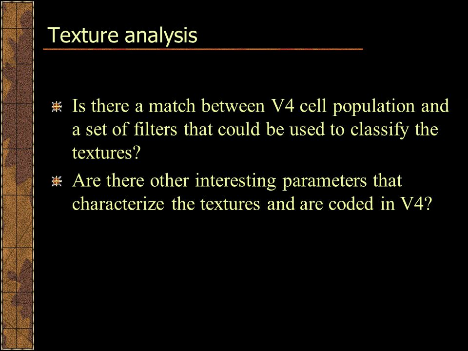 Texture analysis Is there a match between V4 cell population and a set of filters that could be used to classify the textures.