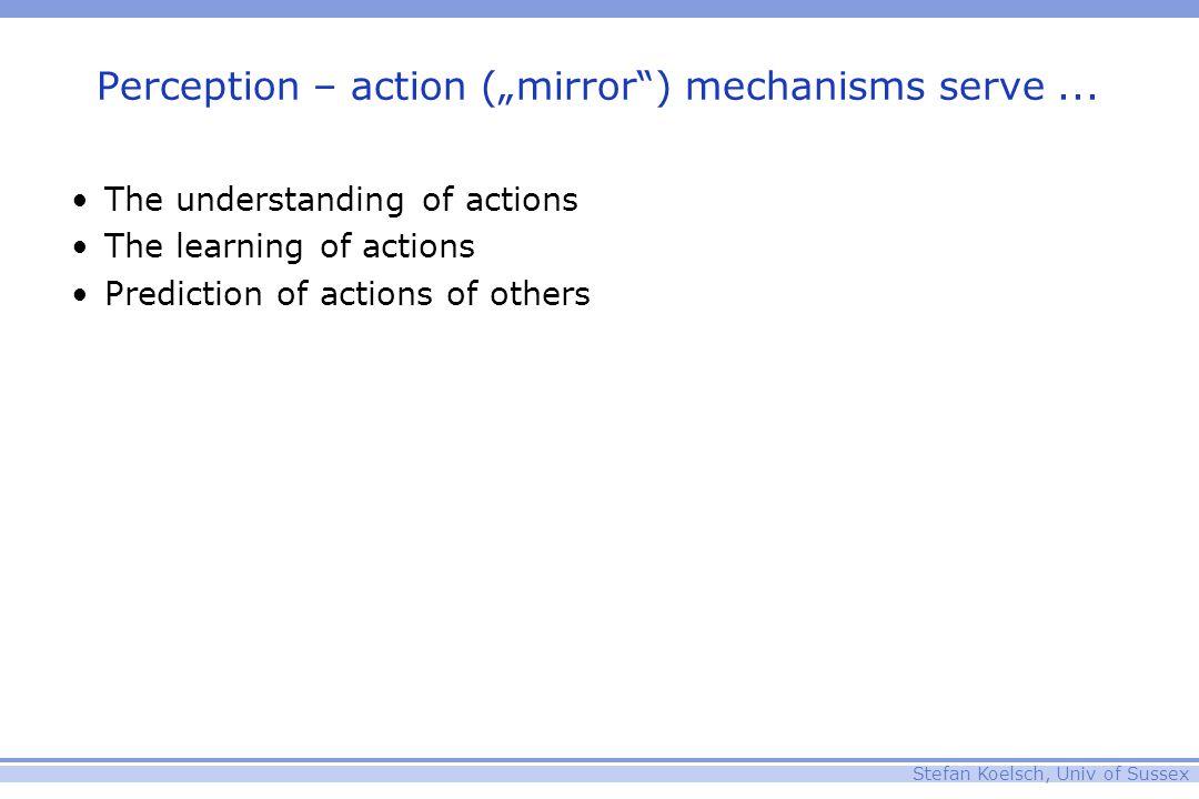 "Stefan Koelsch, Univ of Sussex Perception – action (""mirror"") mechanisms serve... The understanding of actions The learning of actions Prediction of a"
