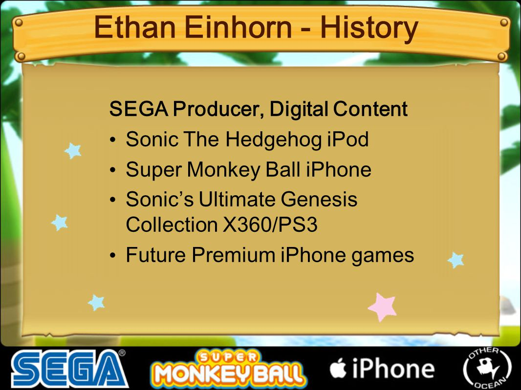 SEGA Producer, Digital Content Sonic The Hedgehog iPod Super Monkey Ball iPhone Sonic's Ultimate Genesis Collection X360/PS3 Future Premium iPhone gam