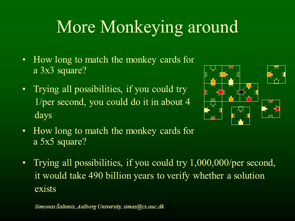 More Monkeying around How long to match the monkey cards for a 3x3 square.