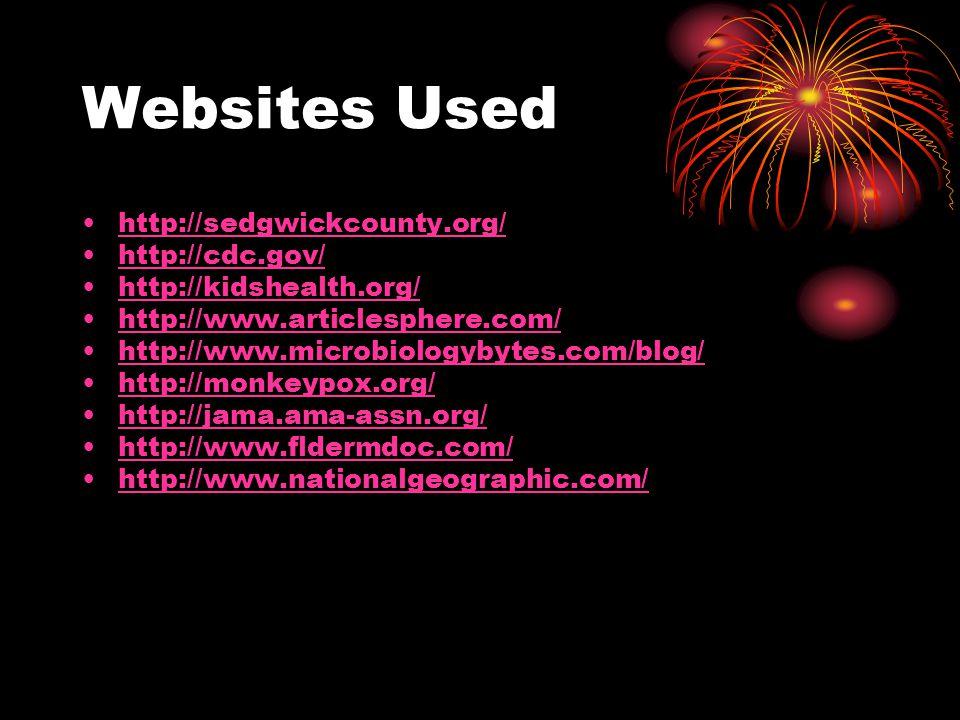 Websites Used http://sedgwickcounty.org/ http://cdc.gov/ http://kidshealth.org/ http://www.articlesphere.com/ http://www.microbiologybytes.com/blog/ http://monkeypox.org/ http://jama.ama-assn.org/ http://www.fldermdoc.com/ http://www.nationalgeographic.com/