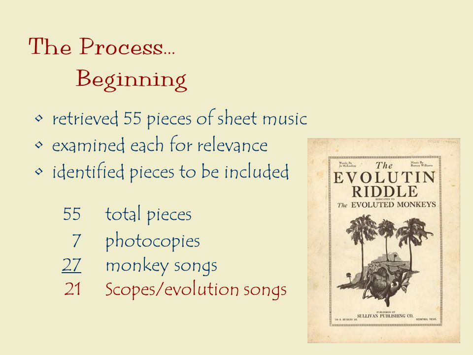 The Process… Beginning retrieved 55 pieces of sheet music examined each for relevance identified pieces to be included 55total pieces 7photocopies 27monkey songs 21Scopes/evolution songs
