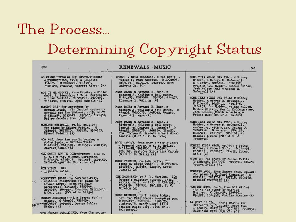 The Process… Determining Copyright Status