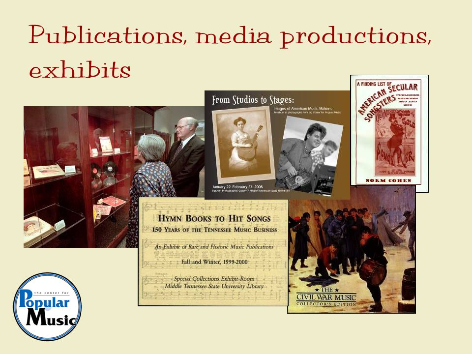 Publications, media productions, exhibits