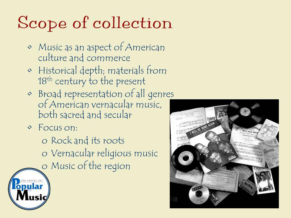 Instruments Recordings Printed music Recording equipment Playback equipment Trade catalogs