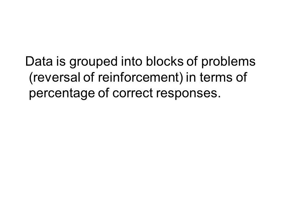 Data is grouped into blocks of problems (reversal of reinforcement) in terms of percentage of correct responses.