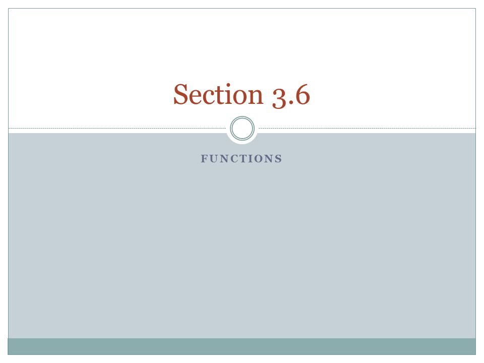 Functions Section 3.6 Identify functions.
