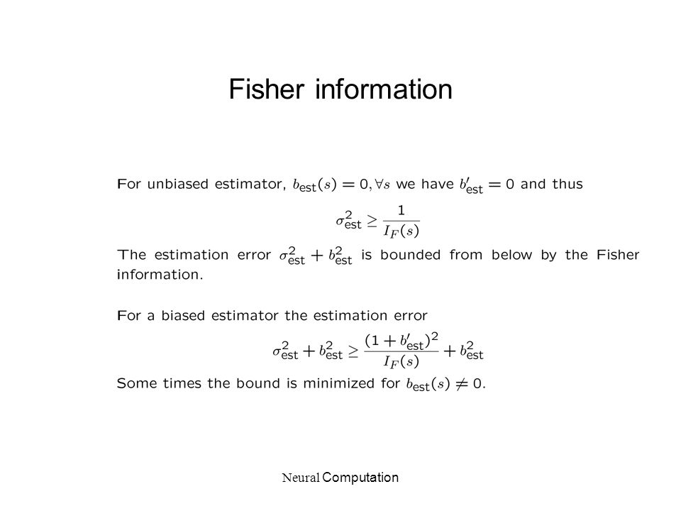 Neural Computation Fisher information
