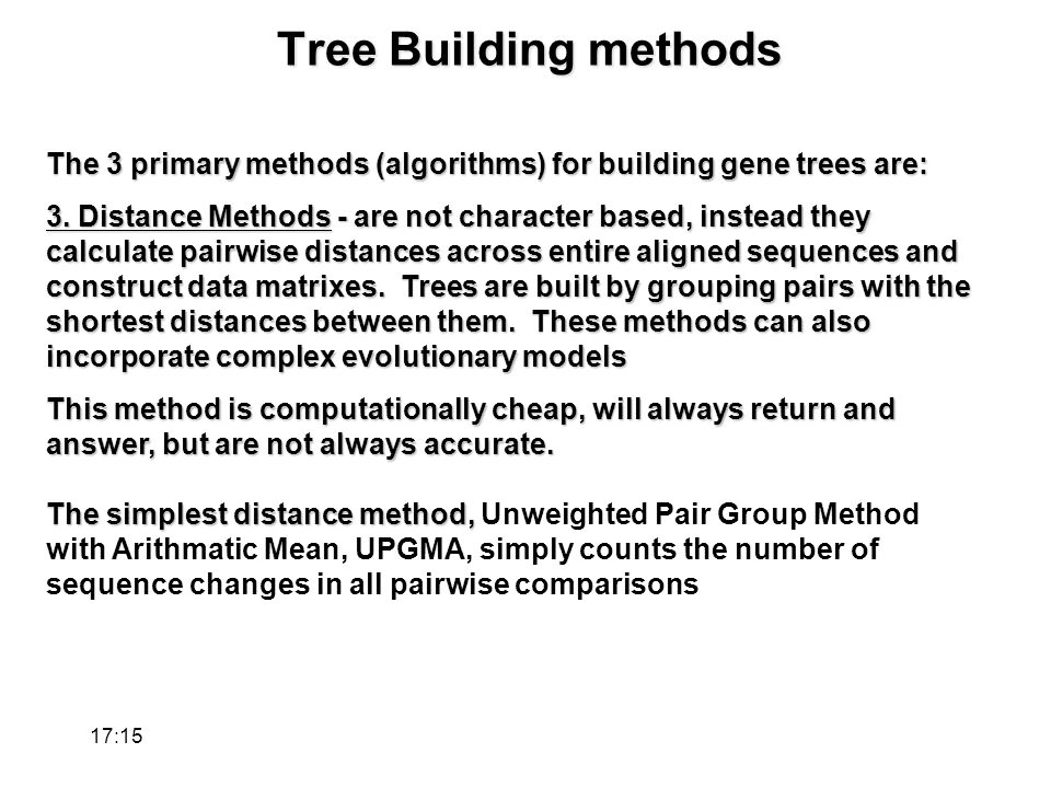 Tree Building methods The 3 primary methods (algorithms) for building gene trees are: 3.