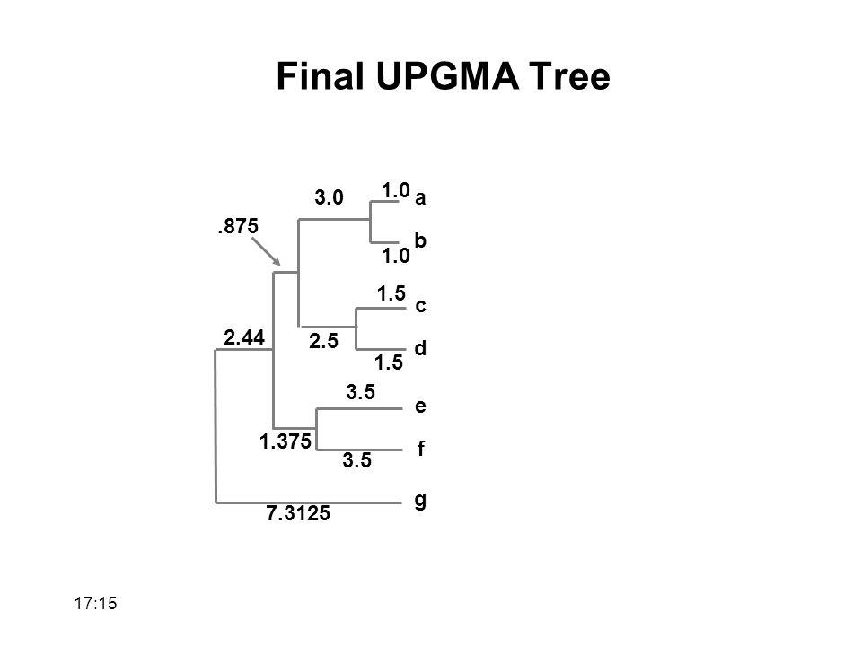 a b 1.0 c d 1.5 3.0 2.5 e f 3.5.875 1.375 g 7.3125 2.44 Final UPGMA Tree 17:17
