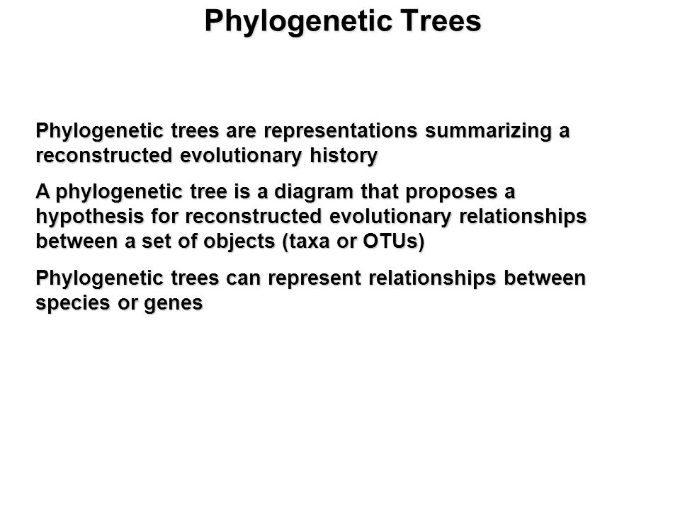 Phylogenetic Trees Phylogenetic trees are representations summarizing a reconstructed evolutionary history A phylogenetic tree is a diagram that proposes a hypothesis for reconstructed evolutionary relationships between a set of objects (taxa or OTUs) Phylogenetic trees can represent relationships between species or genes