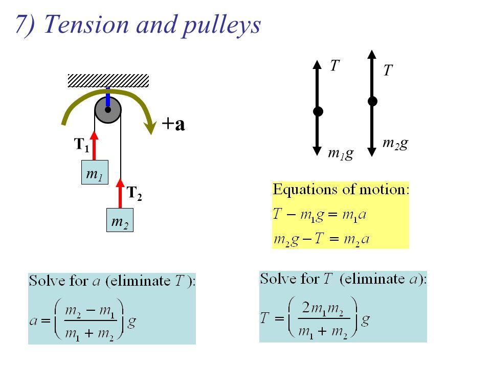 7) Tension and pulleys m1m1 m2m2 T1T1 T2T2 +a T m1gm1g T m2gm2g