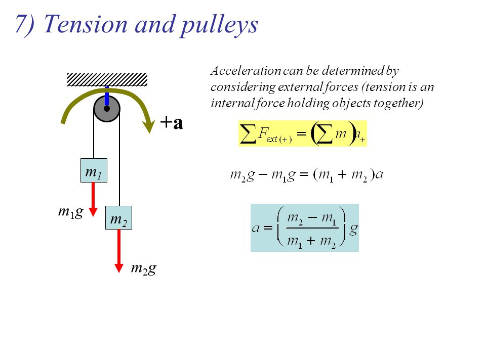 7) Tension and pulleys m1m1 m2m2 +a Acceleration can be determined by considering external forces (tension is an internal force holding objects togeth