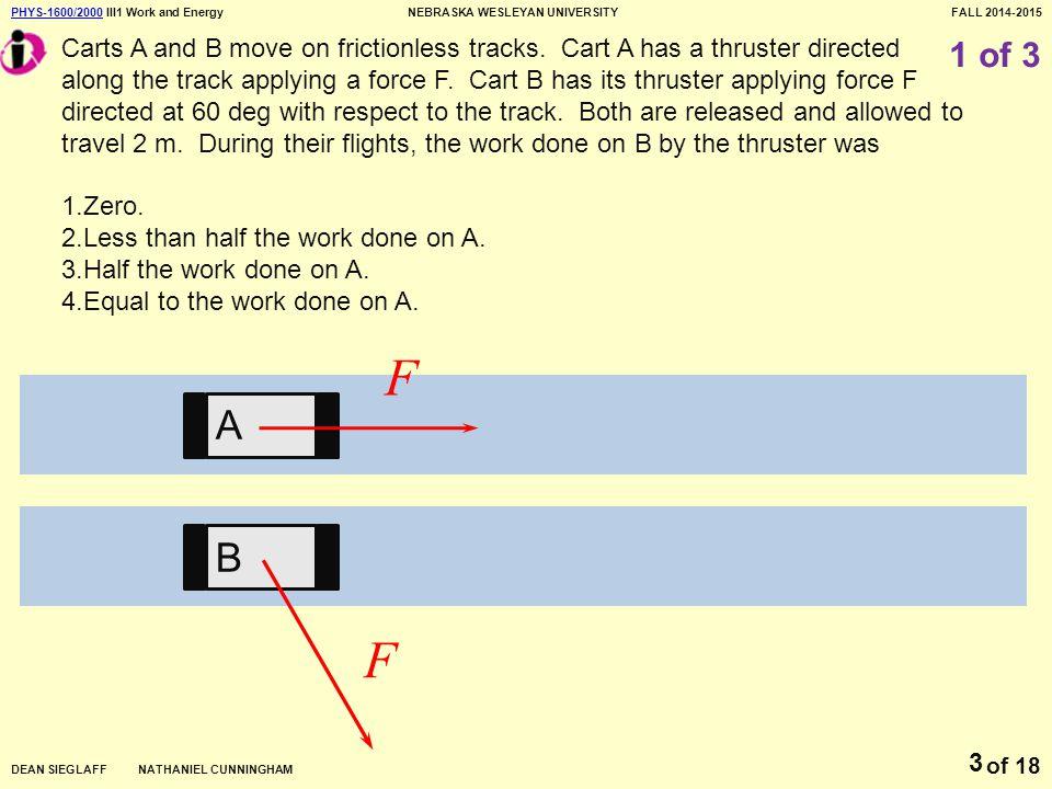PHYS-1600/2000PHYS-1600/2000 III1 Work and EnergyNEBRASKA WESLEYAN UNIVERSITYFALL 2014-2015 DEAN SIEGLAFF NATHANIEL CUNNINGHAM of 18 14 III1 Exit Homework Problem #1