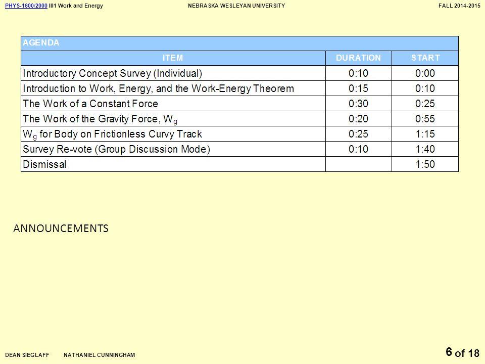 PHYS-1600/2000PHYS-1600/2000 III1 Work and EnergyNEBRASKA WESLEYAN UNIVERSITYFALL 2014-2015 DEAN SIEGLAFF NATHANIEL CUNNINGHAM of 18 6 ANNOUNCEMENTS