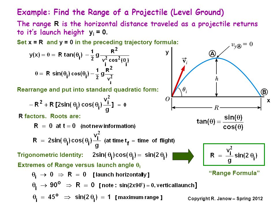 Copyright R. Janow – Spring 2012 Example: Find the Range of a Projectile (Level Ground) The range R is the horizontal distance traveled as a projectil