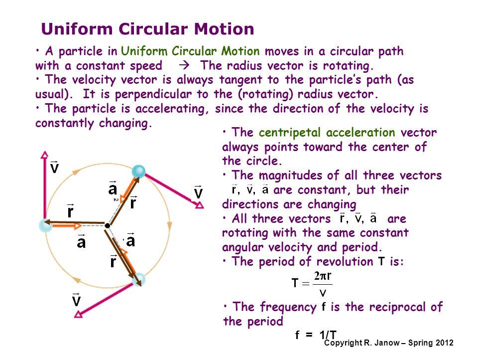 Copyright R. Janow – Spring 2012 Uniform Circular Motion A particle in Uniform Circular Motion moves in a circular path with a constant speed  The ra