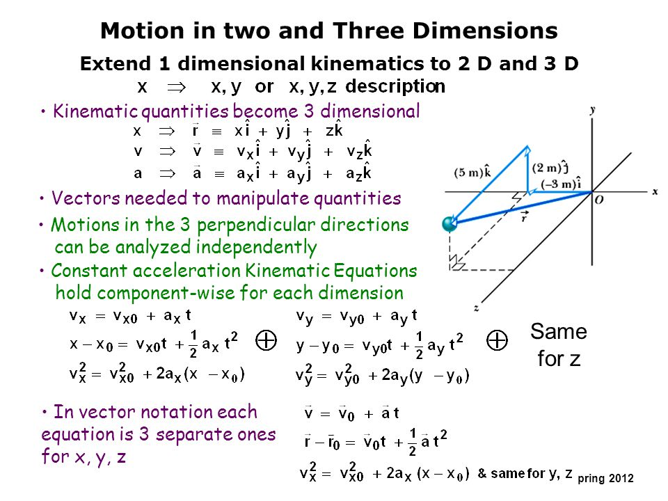 Copyright R. Janow – Spring 2012 Motion in two and Three Dimensions Extend 1 dimensional kinematics to 2 D and 3 D Kinematic quantities become 3 dimen